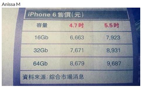 『iPhone 6』香港から価格がリークされる!128GBモデルの発売はなし!?