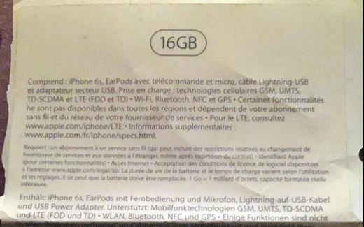iPhone6sの化粧箱に16GBの表記、 エントリーレベルモデルとして16GBモデルは維持される?