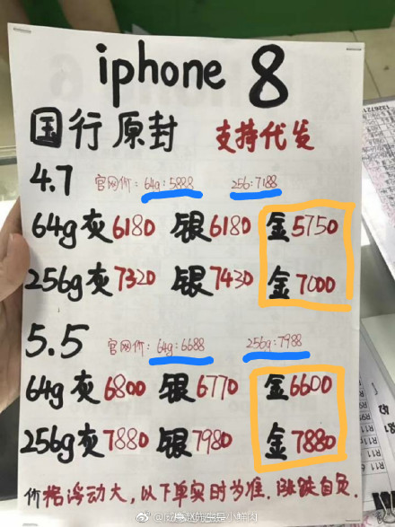 iPhone 8 & iPhone 8 Plusのゴールドのみ中国で値下がりか?