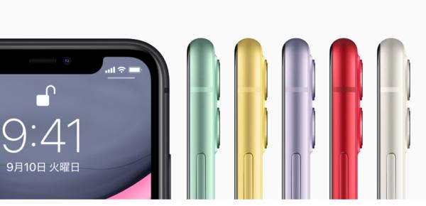 iPhone 11のカラーはホワイト、ブラック、グリーン、イエロー、パープル、(PRODUCT)REDの6種類